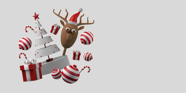 Concept de noël avec des boules de cadeaux, des cannes de bonbon et des rennes du père noël espace de copie