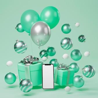 Concept de noël avec boules et espace copie