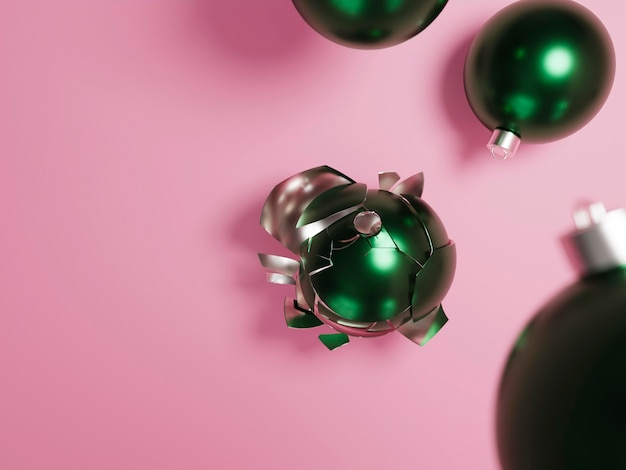 Concept De Noël Avec Boules Et Espace Copie Photo gratuit
