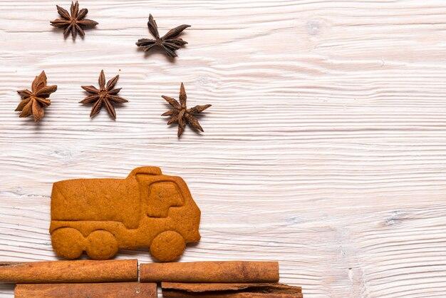 Concept de noël, camion de pain d'épice
