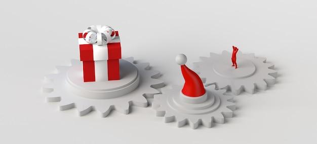 Concept de noël avec engrenages, cadeau et bonnet de noel. espace pour la copie. illustration 3d.