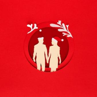 Concept de noël en papier avec couple