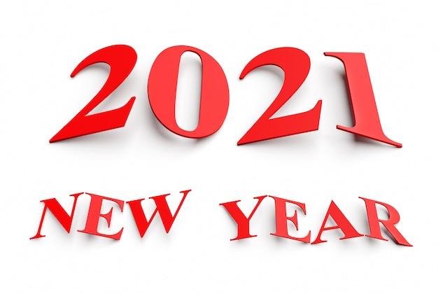 Concept de nouvel an. chiffres obliques rouges 2021 isolés sur blanc