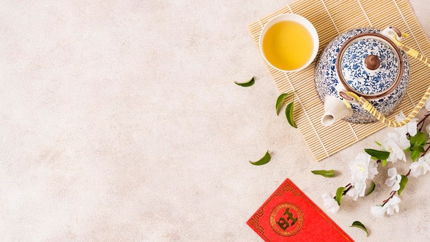 Concept de nouvel an chinois avec espace copie