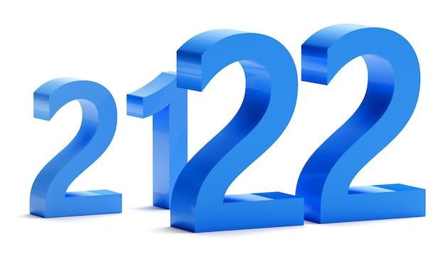 Concept de nouvel an en couleurs bleu numéro 2022 isolé sur blanc