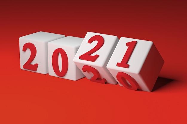 Concept de nouvel an avec des cubes