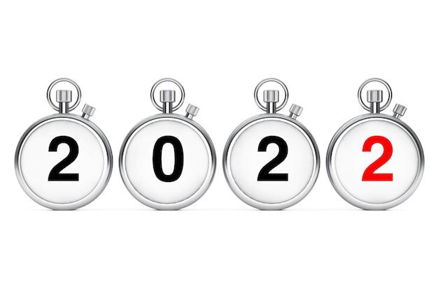 Concept de nouvel an et joyeux noël. chronomètres avec signe du nouvel an 2022 sur fond blanc. rendu 3d
