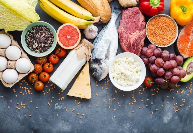 Concept de nutrition saine. fond de nourriture saine équilibrée.