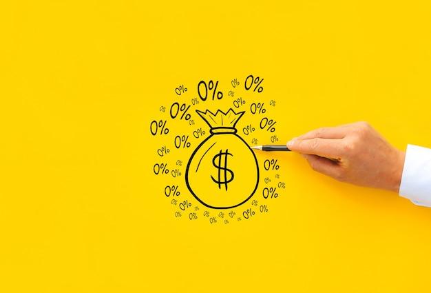 Concept d'offrir un prêt avec un taux d'intérêt de pour cent