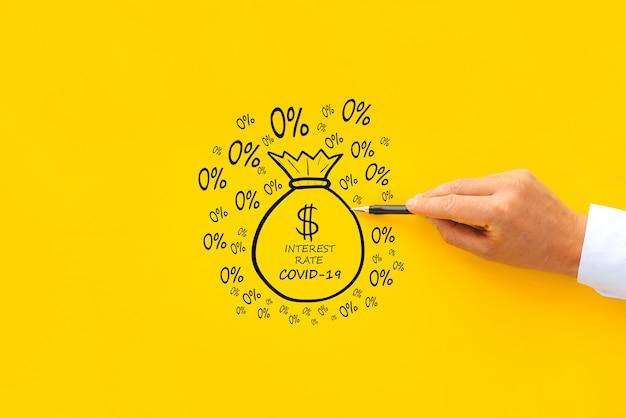 Concept d'offrir des prêts pendant la pandémie de covid-19 avec un taux d'intérêt de 0%.