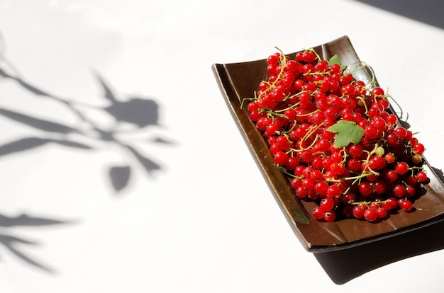 Concept d'ombre dure, la groseille rouge se trouve dans une assiette rectangulaire brune. mise au point sélective, image horizontale