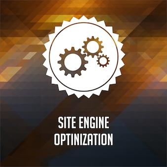 Concept d'optimisation du moteur de site. conception d'étiquettes rétro. fond de hipster fait de triangles, effet de flux de couleur.