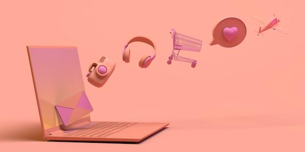 Concept d'ordinateur portable avec des objets flottants écouteurs panier d'achat jeux email illustration 3d espace de copie
