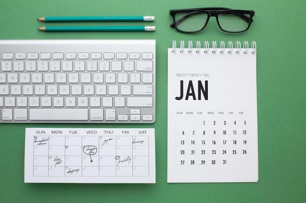 Concept d'organisation du temps avec clavier