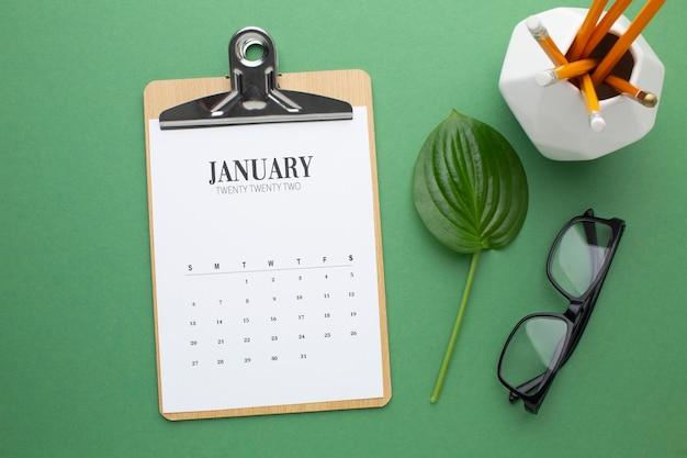 Concept d'organisation du temps avec vue de dessus du calendrier