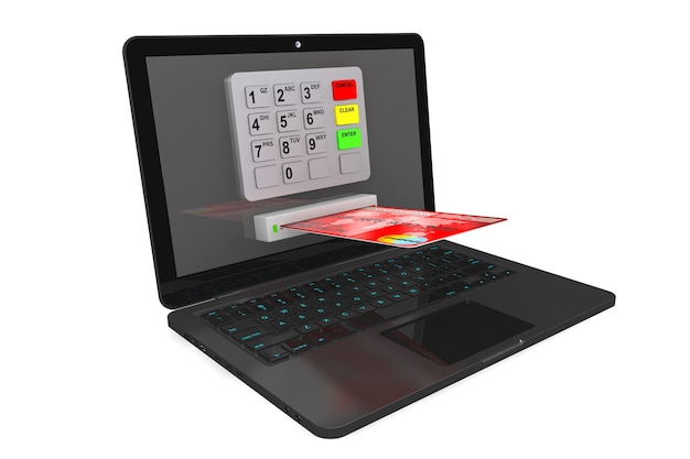 Concept de paiement en ligne. ordinateur portable moderne avec guichet automatique et carte de crédit sur fond blanc