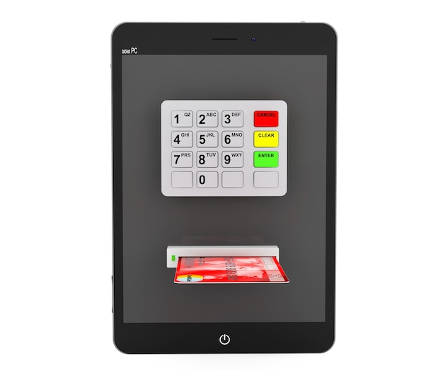 Concept de paiement en ligne. tablet pc avec guichet automatique et carte de crédit sur fond blanc