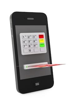 Concept de paiement en ligne. téléphone portable avec guichet automatique et carte de crédit sur fond blanc