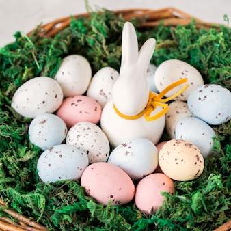 Concept de pâques lapin dans un panier avec des oeufs de pâques.