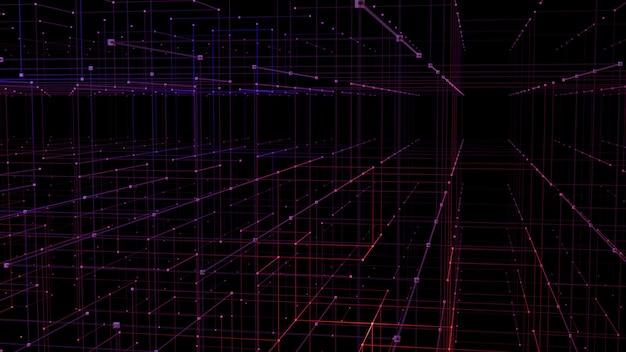 Concept de perspective de grille 3d pour la visualisation de données de réseau numérique.