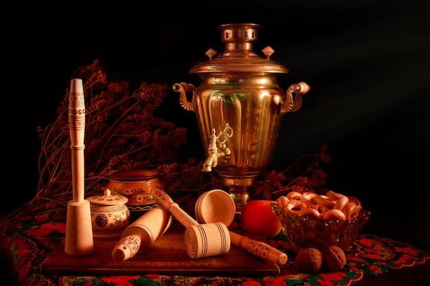 Concept de photographie d'art nature morte avec samovar antique