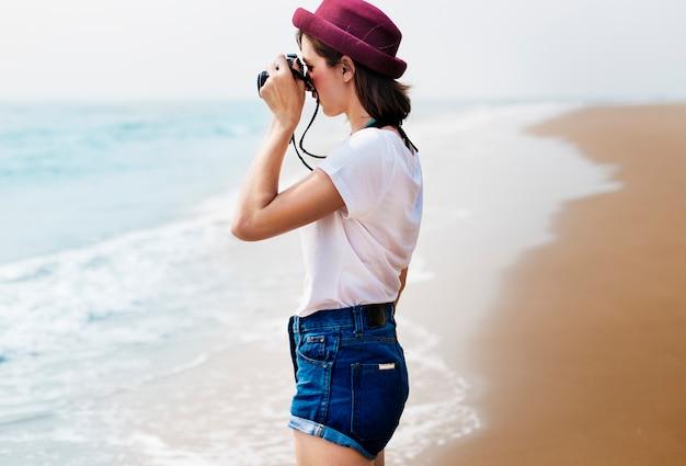 Concept de photographie itinérante plage vacances d'été