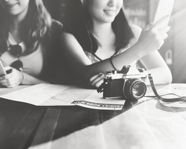 Concept de photographie de vacances voyage hangout amitié filles