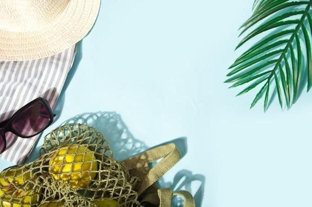 Concept de pique-nique d'été. chapeau, lunettes de soleil, pommes vertes dans un sac en filet sur fond bleu, espace de copie. vue de dessus.