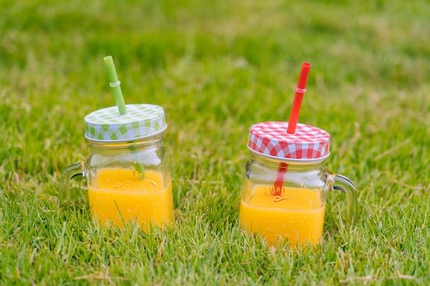 Concept de pique-nique d'été sur une journée ensoleillée avec pastèque, fruits, bouquet d'hortensias et de tournesols.