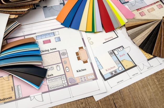 Concept, plan de la maison et palette de couleurs