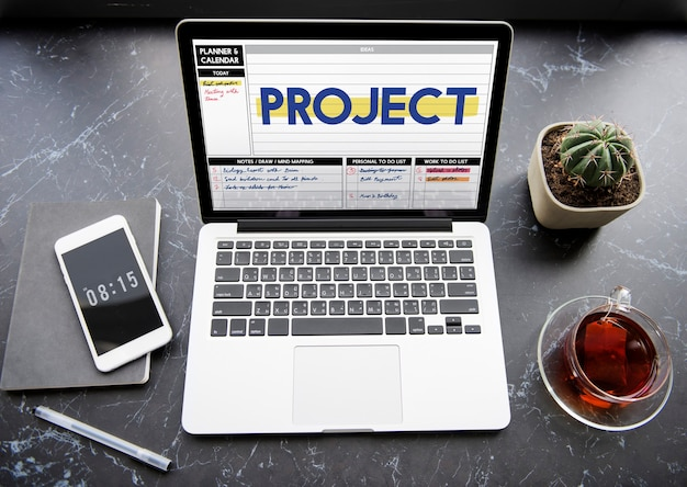 Concept de planificateur d'idées de remue-méninges de projet