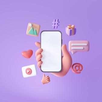 Concept de plate-forme de communication de médias sociaux en ligne 3d main tenant un téléphone avec emoji