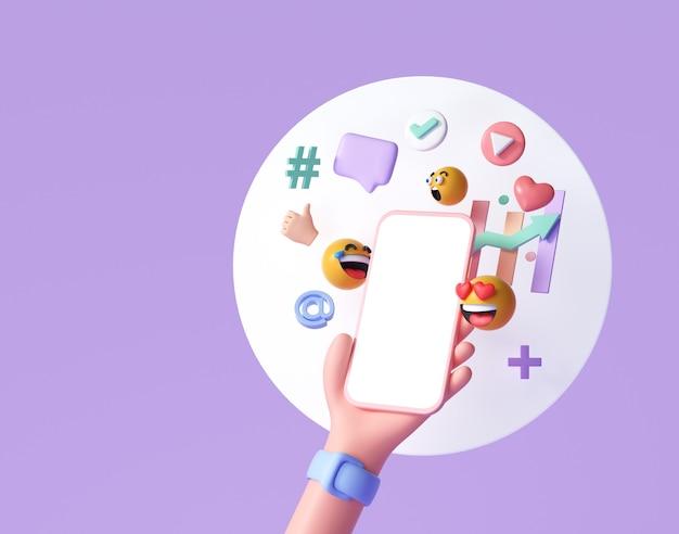 Concept de plate-forme de communication de médias sociaux en ligne 3d
