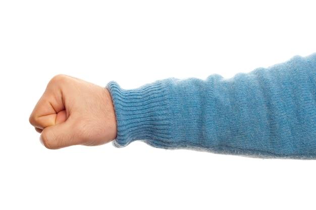 Concept de poing avec la main sur fond blanc