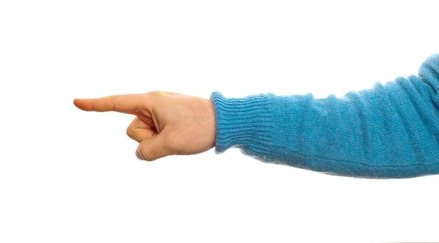 Concept de pointage avec la main sur fond blanc