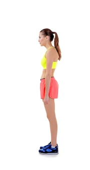 Concept de posture incorrecte. jeune femme isolée sur blanc