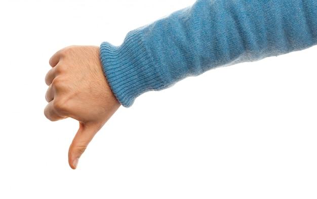 Concept de pouce vers le bas avec la main