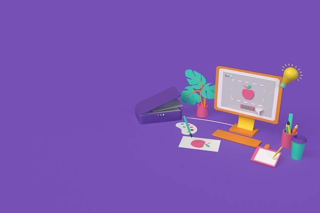 Concept pour le graphisme du concepteur. trace d'image. trace de l'image numérisée vers l'ordinateur. illustration de rendu 3d