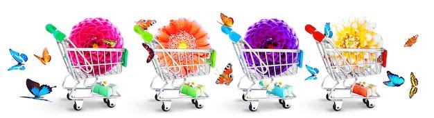 Concept pour la livraison de fleurs, la saint valentin, la fête des mères ou la journée internationale de la femme