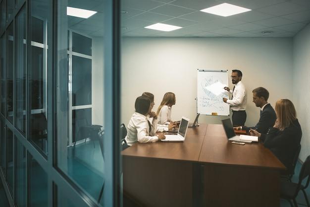 Concept de présentation d'entreprise. l'homme de l'orateur se tient près du tableau blanc ayant une discussion avec les entreprises