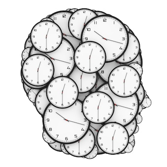Concept de pression de date limite. horloges modernes en forme de tête humaine sur fond blanc. rendu 3d.