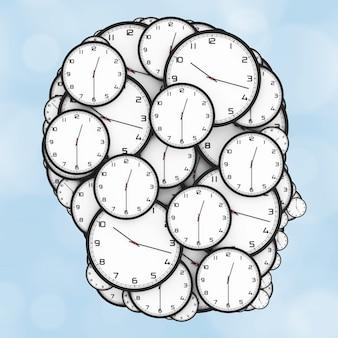 Concept de pression de date limite. horloges modernes en forme de tête humaine sur fond bleu. rendu 3d.