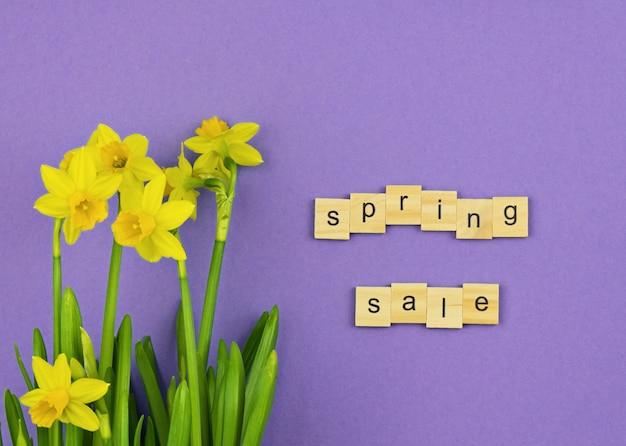 Concept de printemps. vue de dessus, pose à plat, espace de copie