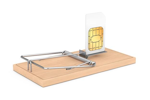 Concept de problèmes de communication bon marché. carte sim de téléphone portable dans une souricière en bois sur fond blanc. rendu 3d