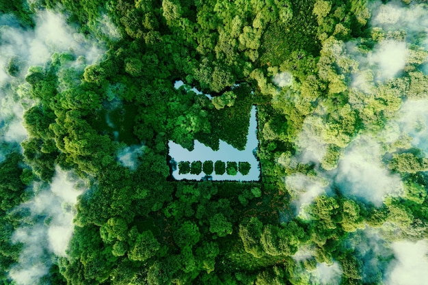 Le concept de production respectueuse de l'environnement. un étang en forme d'usine au milieu d'une forêt luxuriante. rendu 3d.