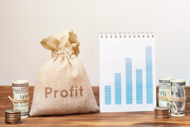 Concept de profit avec sac d'argent et graphique de croissance.