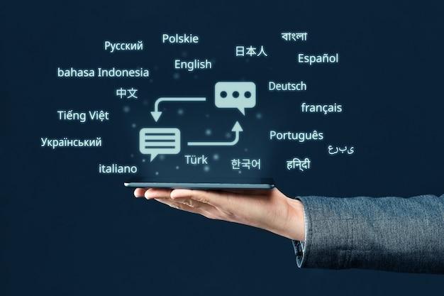 Concept d'un programme pour un smartphone pour traduire à partir de différentes langues