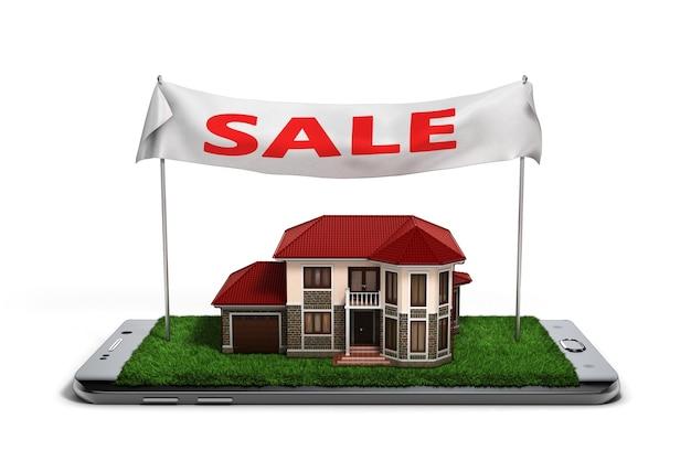 Concept de propriété de maison de vente en ligne est sur les illustrations 3d de téléphone