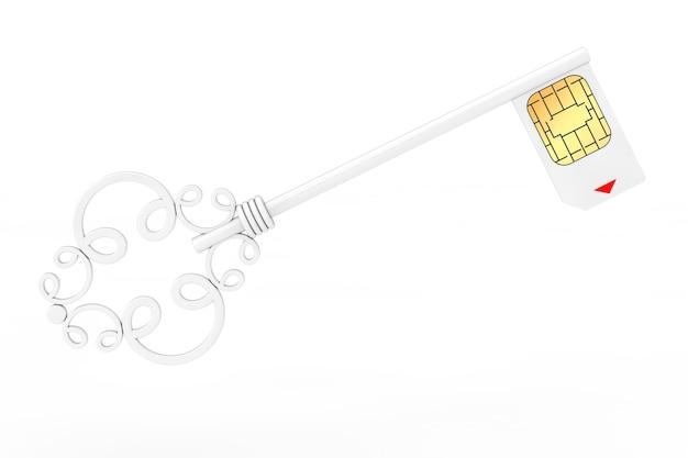 Concept de protection de carte sim. clé vintage blanche avec carte sim sur fond blanc rendu 3d