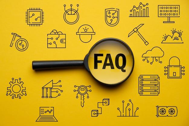Concept de questions et réponses ou faq sur l'activité minière de crypto-monnaie.